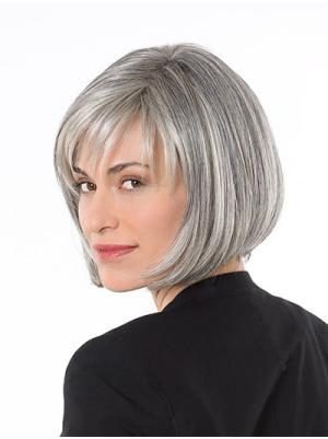 Straight Capless Salt and Pepper Colour Grey Ideal Wigs