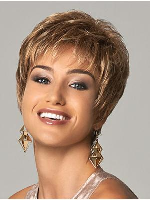 Straight 4 Inches Convenient Brown Short Ladies Wigs