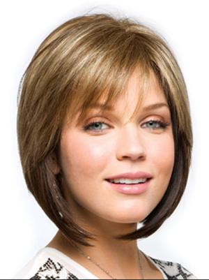 Brown 11 Inches Chin Length Straight Capless Bob Cut Wigs