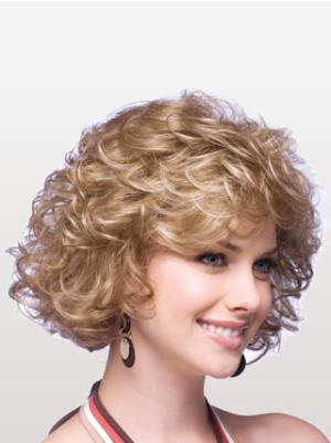 10 Inches Chin Length Curly Synthetic Incredible Blonde Wigs For Sale