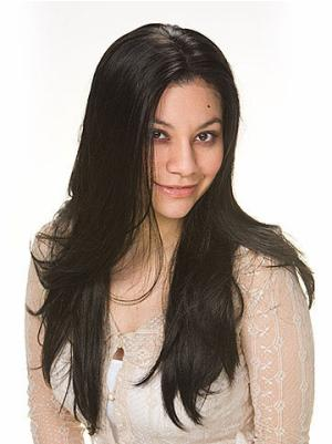 24 Inches Long Straight Synthetic Cheap Black Hair