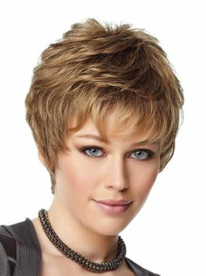 Cheap Synthetic Brown Capless 4 Inches Wavy Cheap Short Wigs