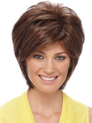 Soft 8 Inches Straight Auburn Short Wigs