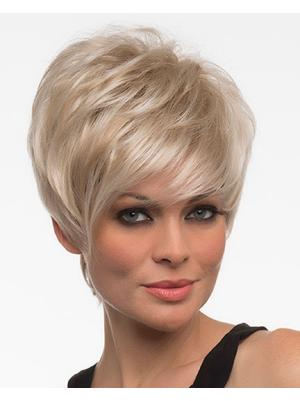 Straight 6 Inches Cheap Blonde Short Cropped Wigs