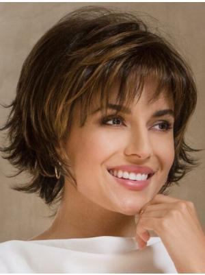 Brown 9 Inches Chin Length Wavy Capless Bob Wig