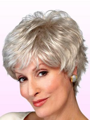 Wavy Short 4 Inches Convenient Synthetic Grey Wig