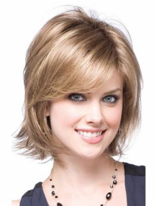 10 Inches Chin Length Wavy Synthetic Popular Natural Blonde Wig