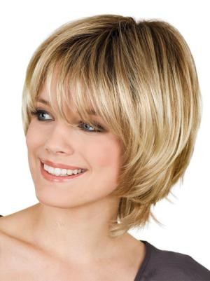 Cheapest With Bangs Blonde 8 Inches Wigs