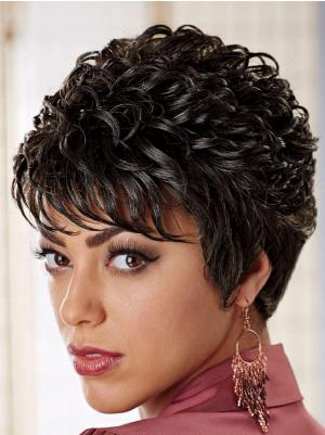 4 Inches Short Curly Synthetic Sassy Black Hair