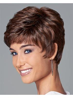 Affordable Synthetic Auburn Capless 4 Inches Wavy Boycut Wigs