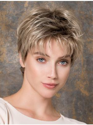 Straight 6 Inches Beautiful Blonde Short Cropped Wigs