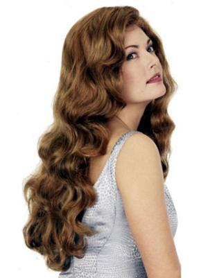 Style Synthetic Auburn Capless 26 Inches Wavy Long Wig