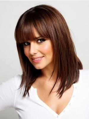 Straight Auburn 14 Inches With Bangs Hairstyles Wigs