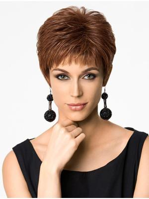 Suitable Synthetic Auburn Capless 4 Inches Straight Best Cropped Wigs