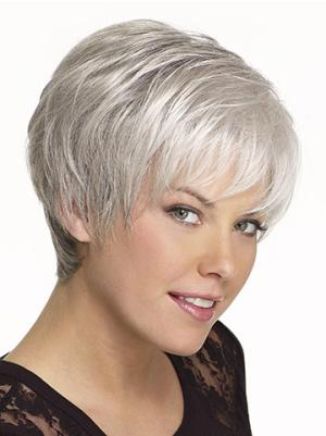 Straight Capless White Grey Incredible Wigs
