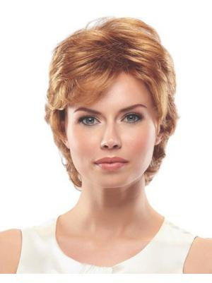 Great 8 Inches Wavy Auburn Short Wigs