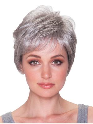 Straight Capless Salt and Pepper Colour Grey Discount Wigs