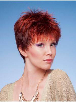 Capless 4 Inches Modern Straight Very Short Cropped Wigs