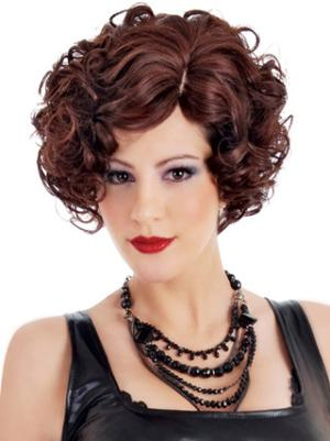 No-fuss 10 Inches Curly Auburn Short Wigs