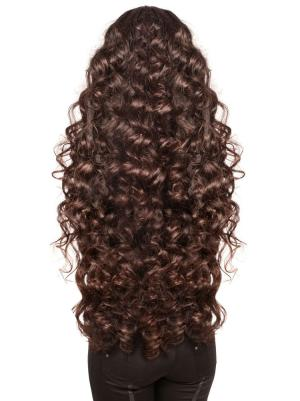 Curly Brown 26 Inches With Bangs Cheap Wigs