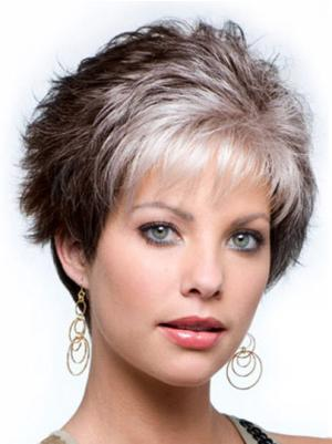 Wavy Capless Brown With Grey Color Grey Suitable Wigs