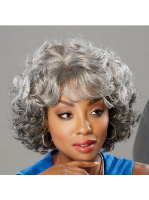 Curly Capless Salt and Pepper Colour Grey Popular Wigs