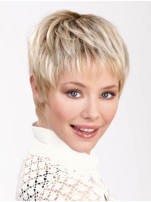 Straight 6 Inches Popular Platinum Blonde Short Wig