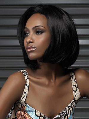 Black 11 Inches Chin Length Straight Capless Bob Cut Wigs