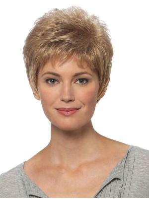 Straight 4 Inches Soft Blonde Short Hair Wigs