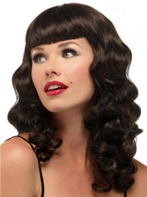 Wavy Brown 16 Inches With Bangs Beautiful Wigs