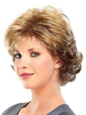8 Inches Short Curly Blonde Layered Wigs