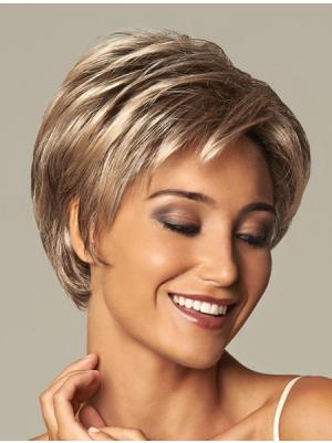 8 Inches Short Wavy Blonde Layered Wigs