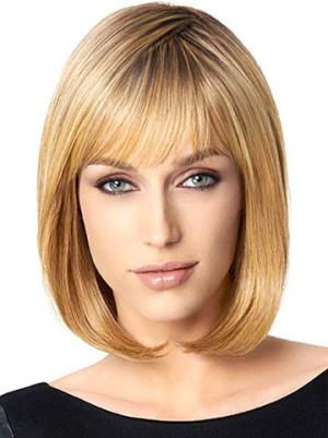 Good 10 Inches Straight Capless Blonde Wigs Bob