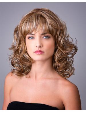 Curly Ombre/2 tone 14 Inches With Bangs Suitable Wigs
