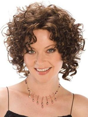 Durable 8 Inches Synthetic Curly Chin Length Womens Wigs