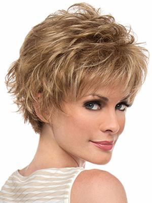 6 Inches Cropped Wavy Blonde Layered Wigs