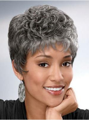 Curly Capless Salt and Pepper Colour Grey Natural Wigs