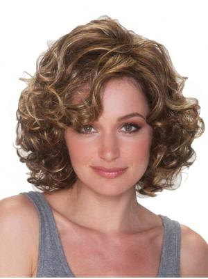 12 Inches Chin Length Curly Blonde Layered Wigs
