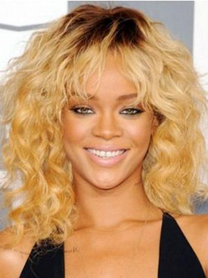 14 Inches Shoulder Length Curly Blonde Layered Wigs