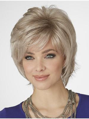 Durable 10 Inches Wavy Capless Blonde Ladies Bob Style Wigs
