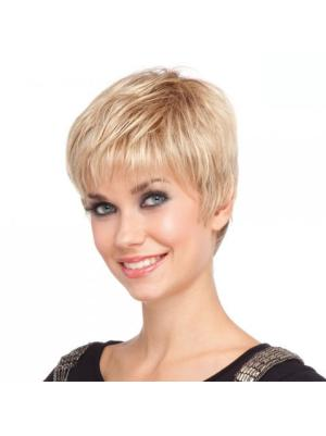 Straight 4 Inches Designed Blonde Short Cropped Wigs