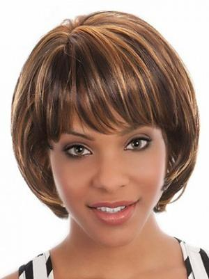 Brown 10 Inches Chin Length Straight Capless Bob Wig