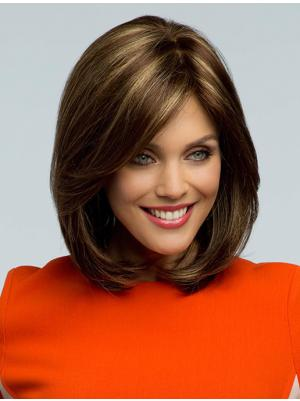 Wavy Brown 12 Inches With Bangs Sleek Wigs