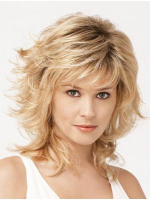 13 Inches Shoulder Length Wavy Blonde Layered Wigs