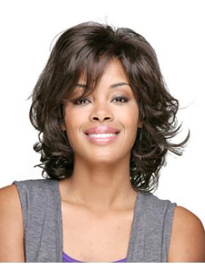 Curly Brown 12 Inches With Bangs High Quality Wigs