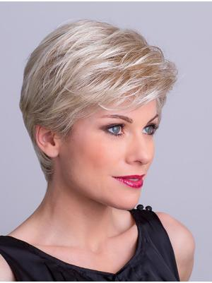 Ideal 8 Inches Straight Platinum Blonde Short Wigs