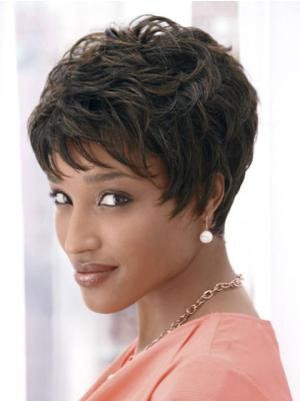 Capless 4 Inches Online Wavy Very Short Cropped Wigs