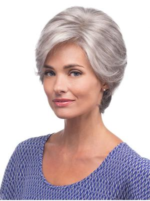 Straight Short 8 Inches No-fuss Synthetic Cheap Grey Wigs