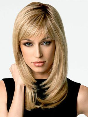 16 Inches Long Straight Blonde Layered Wigs
