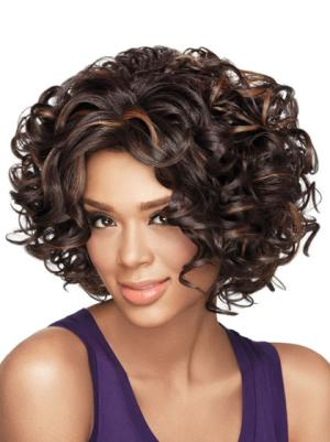 Curly Brown 10 Inches Without Bangs No-fuss Wigs